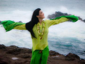 Mirabai Devi by the ocean